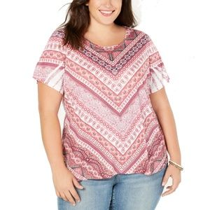 Style & Co Plus Size Floral Printed Pullover Top